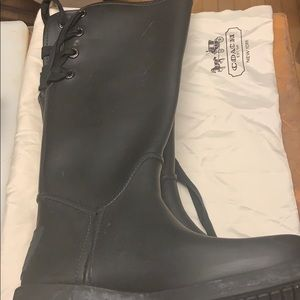 NWOT Coach Logo Black Rubber TieUp Rain/Snow Boots